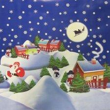50x140cm Restje tafelzeil Kerstsfeer blauw