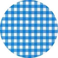 Rond Mexicaans tafelzeil ruitjes lichtblauw (120cm)
