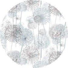 Rond tafelzeil bloem pluisjes grijs/taupe (140cm)