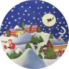 Rond tafelzeil Kerstsfeer donkerblauw (140cm)
