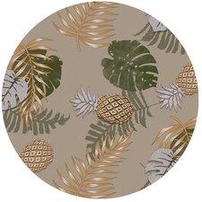 Groot rond tafelzeil bladeren goud ananas (160cm)