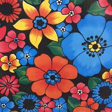Mexicaans tafelzeil Rain of flowers zwart