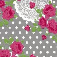 Ovaal tafelzeil funky flowers grijs