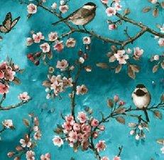 SALE Tafelzeil vogels Japans blauw 120x140cm