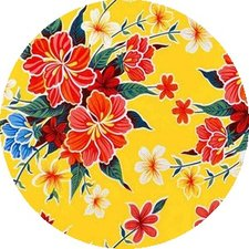 Rond Mexicaans tafelzeil fortin geel (120cm)