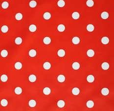 SALE tafelzeil rood met witte stippen 135x140cm