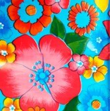 65x120cm Restje Mexicaans tafelzeil rain of flowers blauw