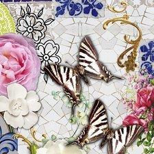 35x140 Restje tafelzeil mozaiek met vlinders