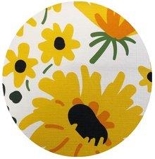 Rond tafelzeil gele bloemen (140cm)