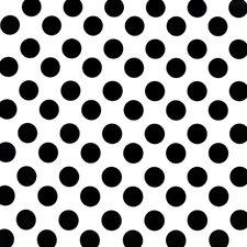 Ovaal tafelzeil wit met grote zwart stippen