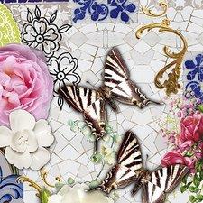 Ovaal tafelzeil mozaiek met vlinders