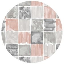 Rond tafelzeil painted old pink/grey (140cm)