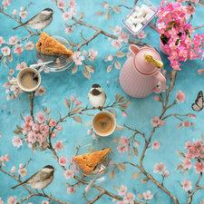 Ovaal tafelzeil vogels Japans blauw