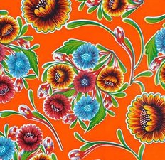 Ovaal Mexicaans tafelzeil floral oranje