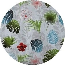 Rond tafelzeil botanische bladeren en bloemen (140cm)