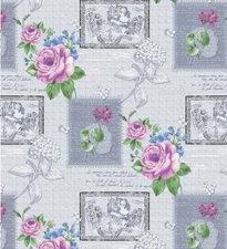 Tafelzeil roos op grijs 200x140cm