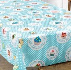 Rond tafelzeil cupcake lichtblauw (140cm)
