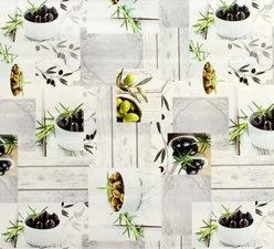 Rond tafelzeil groene en zwarte olijven (140cm)