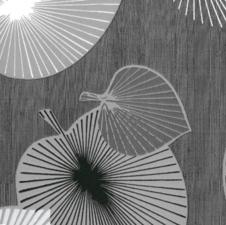 Rond tafelzeil bladeren grijs/zilver (140cm)
