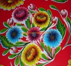 Ovaal Mexicaans tafelzeil floral rood