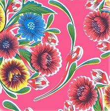Ovaal Mexicaans tafelzeil floral fuchsia