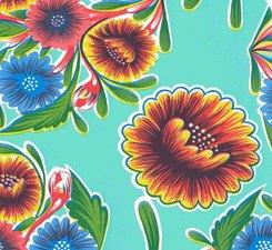 SALE Rond Mexicaans tafelzeil floral mint 120cm