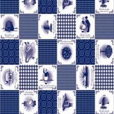 55x140cm Restje tafelzeil Oud Hollandse spreuken blauw