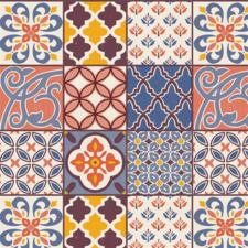 Rond tafelzeil Spaanse tegels gekleurd (ca. 137cm)
