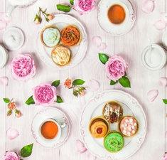 Rond tafelzeil high tea & roses (140cm)