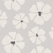 Ovaal tafelzeil grote bloemen grijs