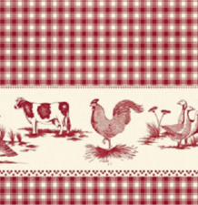 Ovaal tafelzeil boerderijdieren rood