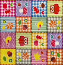 Rond tafelzeil patchwork figuurtjes (140cm)