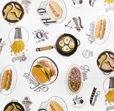 Tafelzeil hamburgers en patat