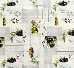 70x140cm Restje tafelzeil groene en zwarte olijven