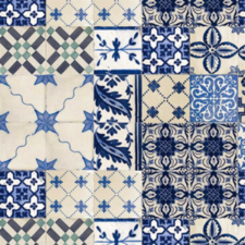 35x140 Restje tafelzeil Portugese tegels blauw