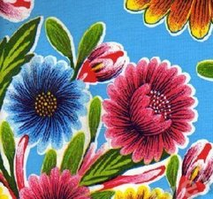 75x120cm Restje Mexicaans tafelzeil floral blauw