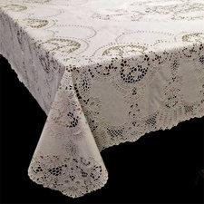 Tafelkleed buiten vinyl crochet ivoor 135x180cm