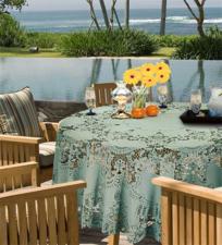 Rond tafelkleed buiten vinyl harbor groen 180cm