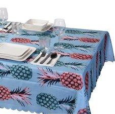 Tafelkleed linnen look ananas 130x180cm