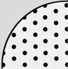 Groot rond gecoat linnen wit met zwarte stippen (160cm)