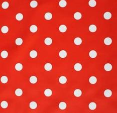 Ovaal tafelzeil rood met witte stippen