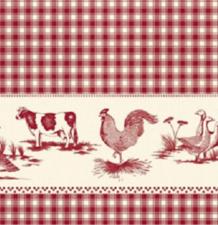 Rond tafelzeil boerderijdieren rood (140cm)