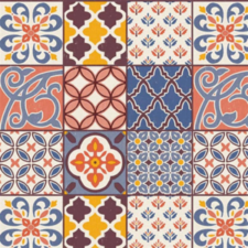 35x140 Restje tafelzeil Spaanse tegels gekleurd