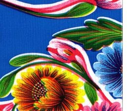45x120cm Restje Mexicaans tafelzeil floral blauw