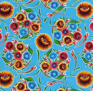 Ovaal Mexicaans tafelzeil floral lichtblauw