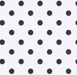 Tafelzeil wit met zwarte stippen (140cm breed)