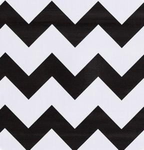 Rond Mexicaans tafelzeil zigzag zwart (120cm)