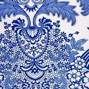 Rond Mexicaans tafelzeil paraiso blauw (120cm)