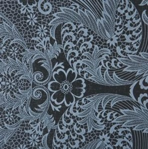 Rond Mexicaans tafelzeil paraiso grijs op zwart (120cm)