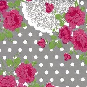 Tafelzeil funky flowers grijs